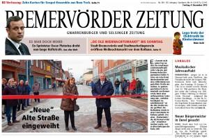 """Bremervörder Zeitung vom 04.12.2015: """"Neue"""" Alte Straße eingeweiht"""